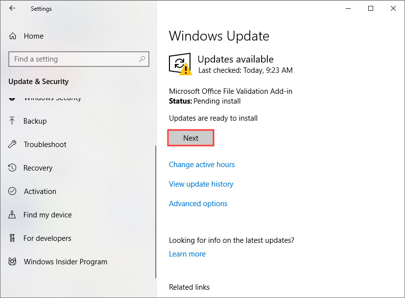 install the latest Windows updates