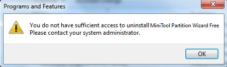 fail to uninstall a program