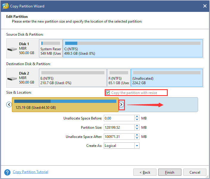 specify the size and location of new partition