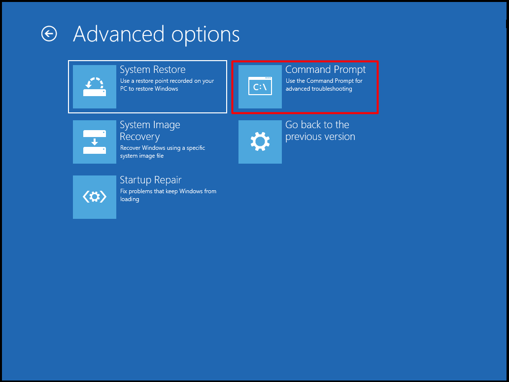 command prompt in the advanced options page