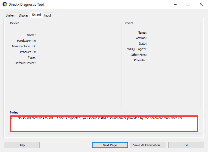 check the detailed information of the DirectX Diagnostic Tool
