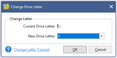 assign a new drive letter for the selected partition