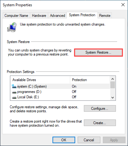 click Next button to restore system files and settings