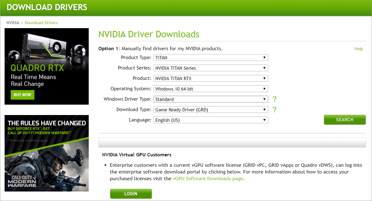 click Search button to search drivers