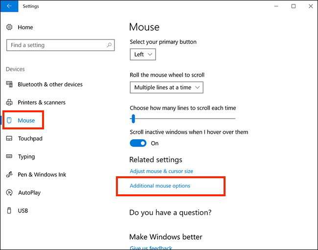 click Additional mouse options