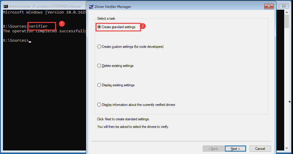 type verifier and set driver verifier manager settings