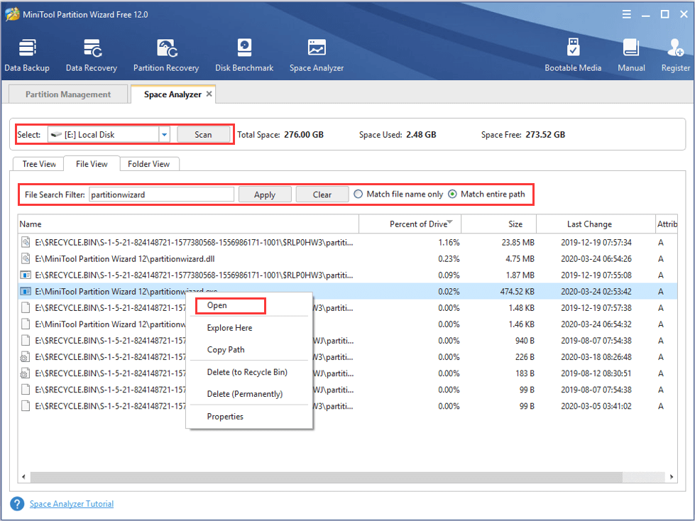 search files using MiniTool Partition Wizard