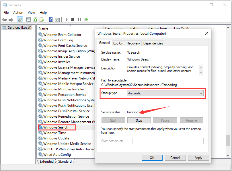 make sure Windows Search service is enabled