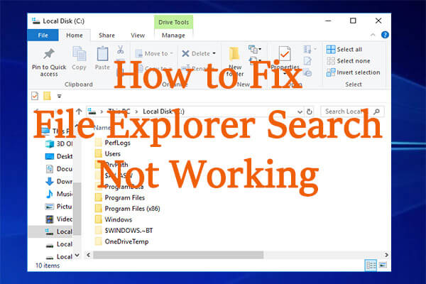 File Explorer search not working