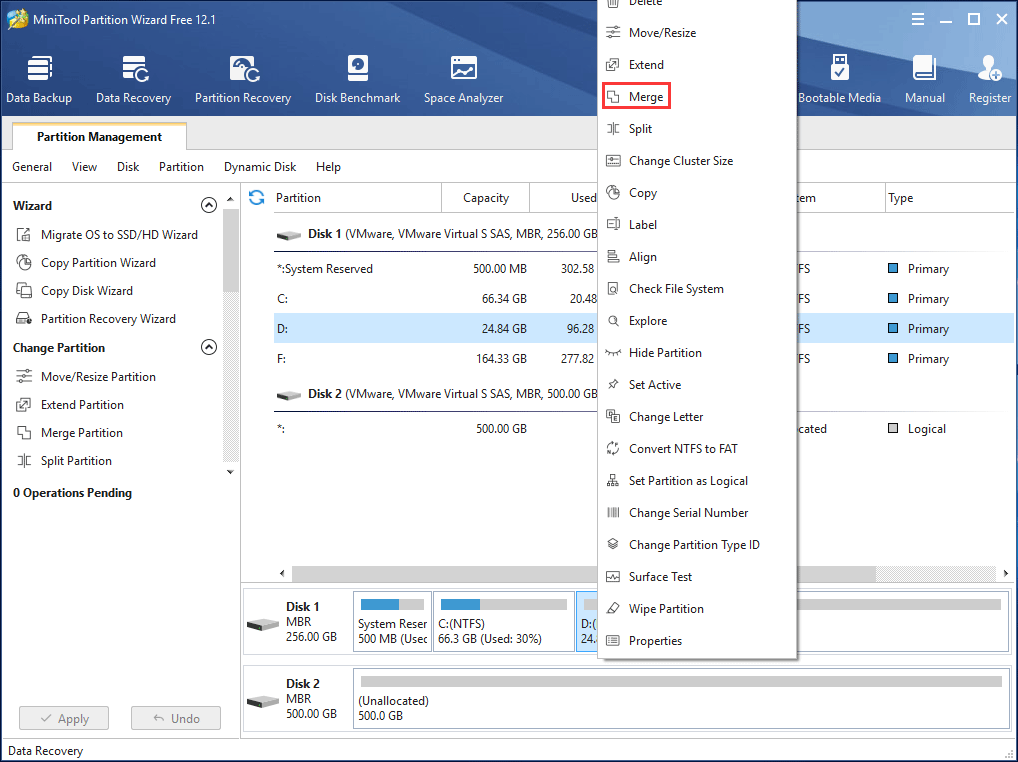 merge partitions without losing data with MiniTool Partition Wizard