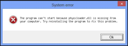 physxloader.dll is missing error