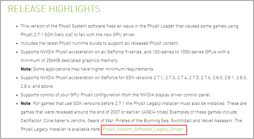 install the legacy version of PhysX driver