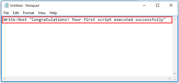 type the script in the Notepad