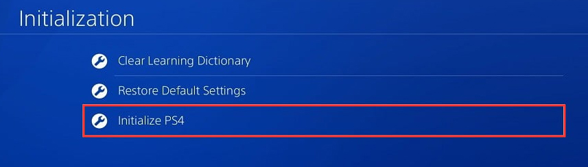 select the Initialize PS4 section