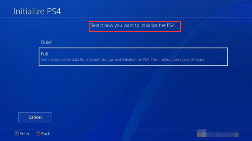 select a way to initialize your PS4