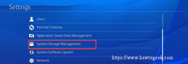 select the System Storage Management