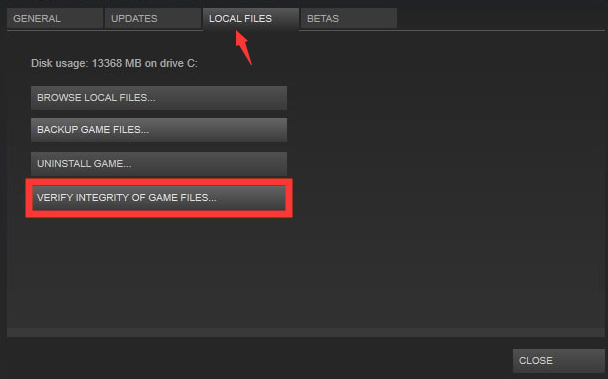click the Verify Integrity of Game Files option