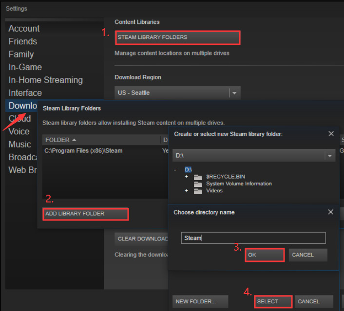 create a new Steam Library Folder on the SSD