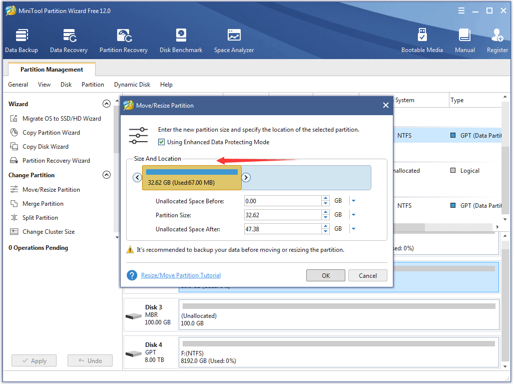 modify the original partition on the disk