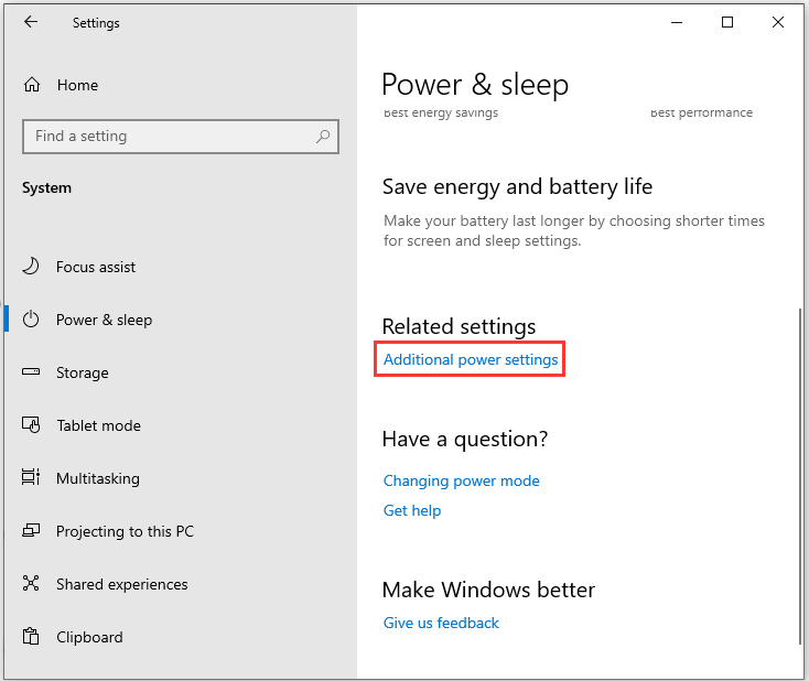 click Additional power settings