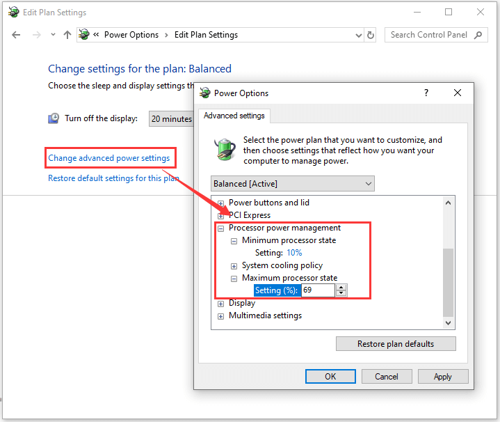 configure power options