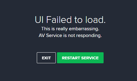 Avast ui failed to load Windows 10