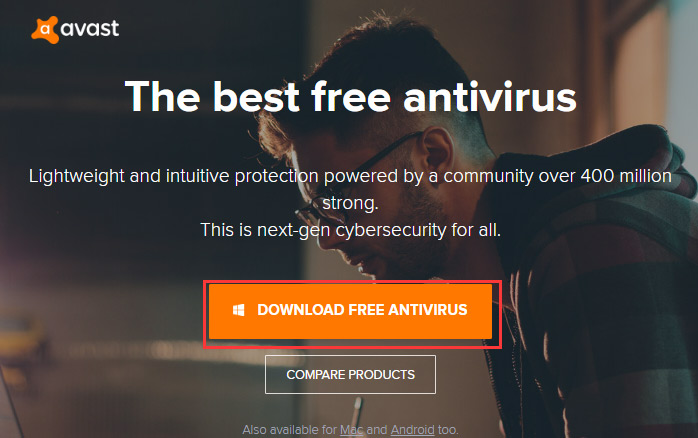 download Avast from its main interface