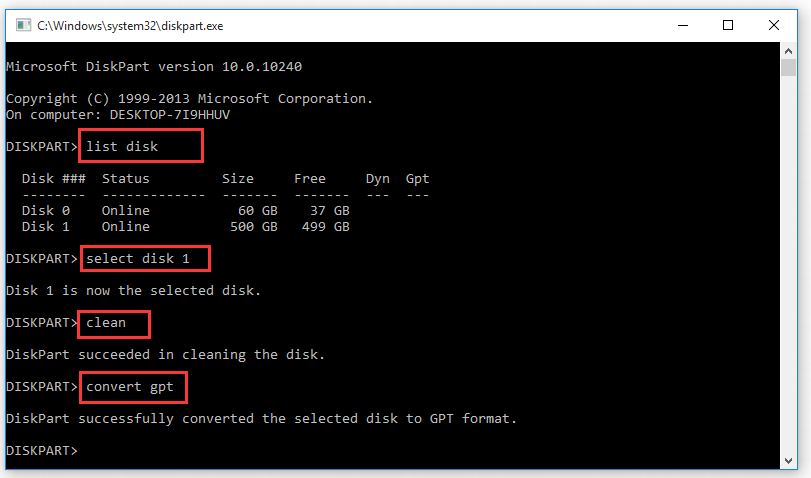 convert a drive to GPT using diskpart