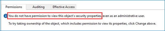 don't have permission to view security properties