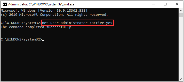enable administrator account in Command Prompt
