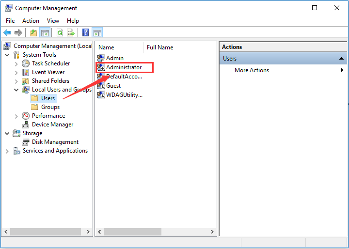 Administrator account with arrow mark