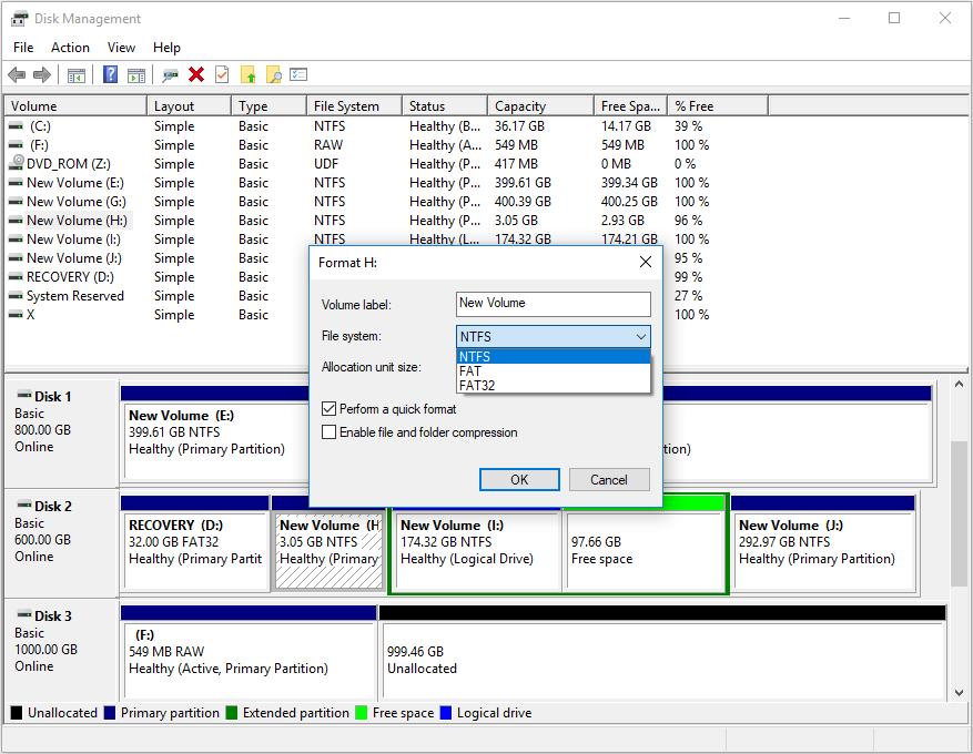 Format hard disk partition to other file systems