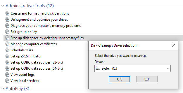 free up disk space by deleting unnecessary files Windows 10 God Mode
