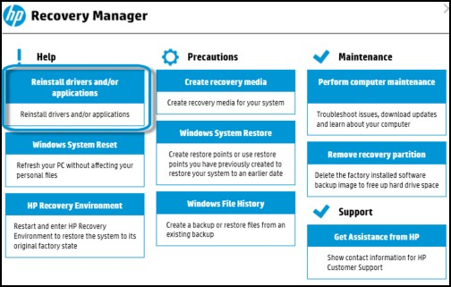 HP recovery manager main interface
