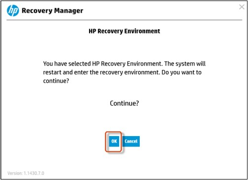 confirm to restart computer and wait for computer enter the recovery environment