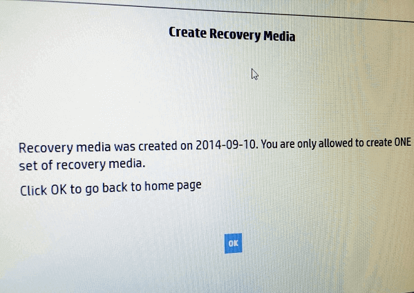can't create recovery media error