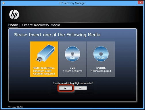 choose to create recovery media on the usb flash drive