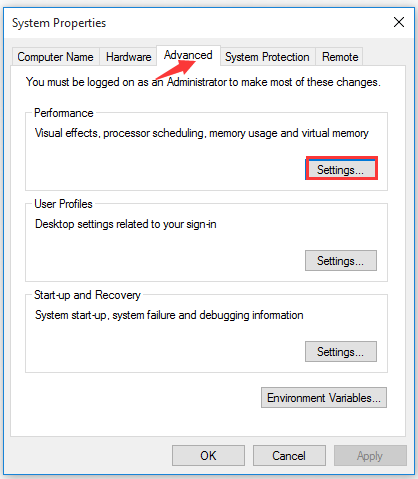 click Settings under the Performance section