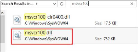 search the msvcr100.dll file in File Explorer
