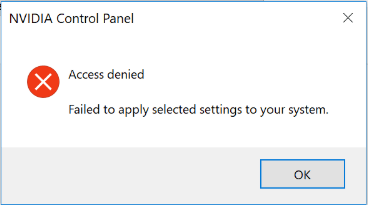 access denied NVIDIA Control Panel