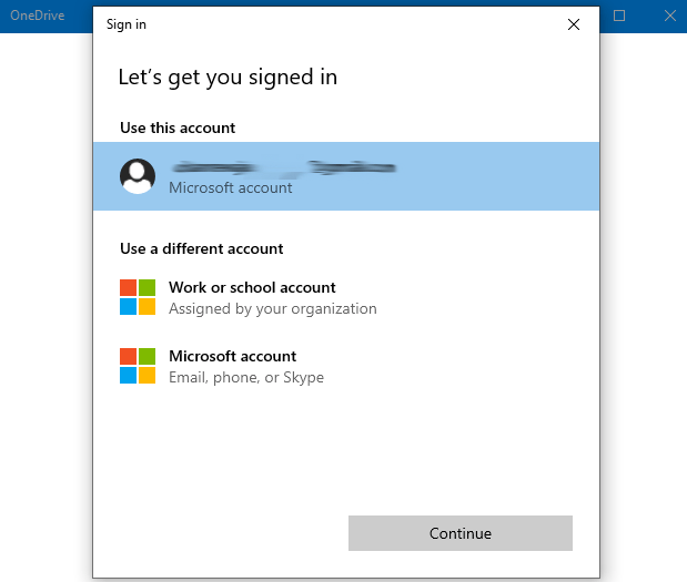 sign in One Drive account
