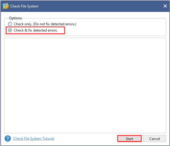 choose Check & fix detected errors