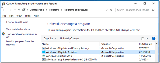 uninstall Windows 10 Update Assistant