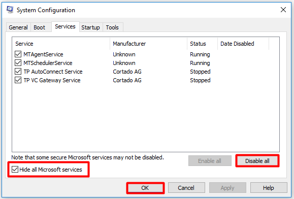check the Hide all Microsoft services box and click on Disable all option