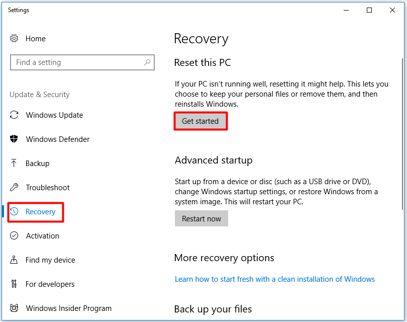 get started the resetting this pc operation