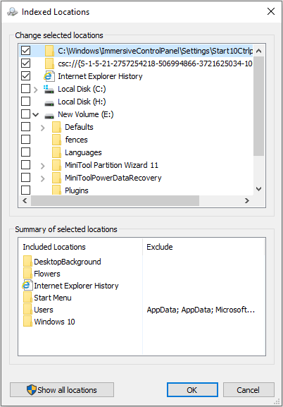 add and remove indexed folders