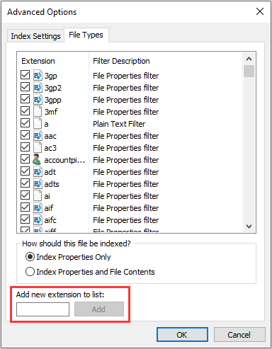 add or remove File Types