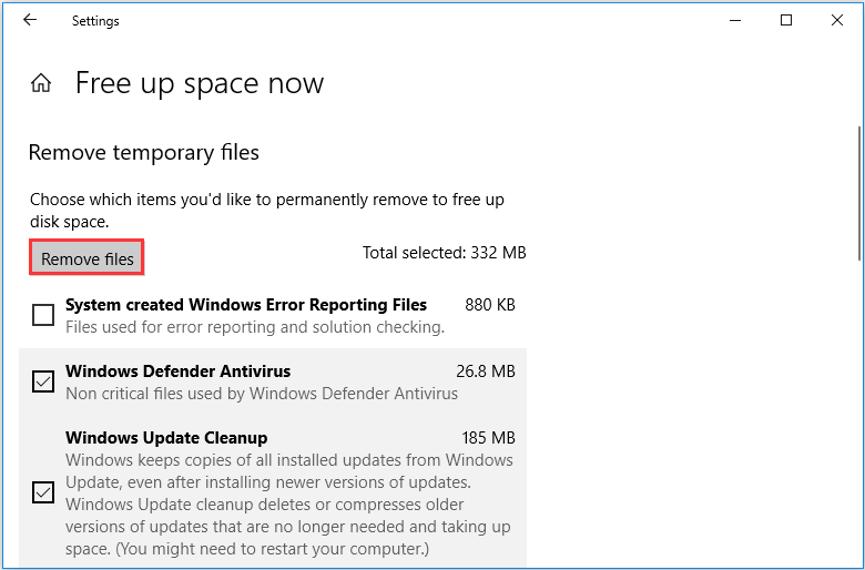 click Remove files