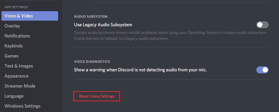 reset voice settings