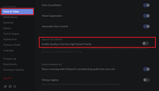 disable Quality of Service High Packet Priority